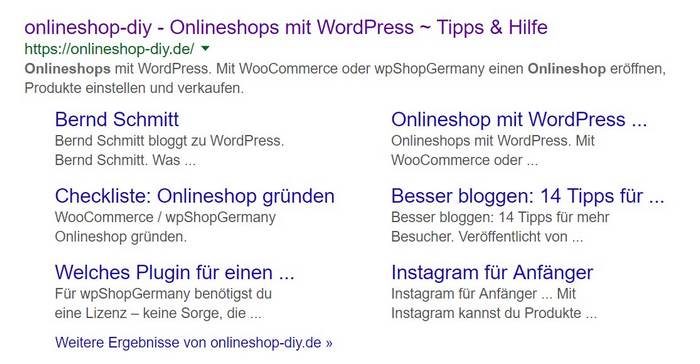 Google Sitelinks für onlineshop-diy