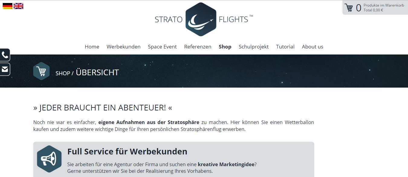 Der Onlineshop von Stratoflights