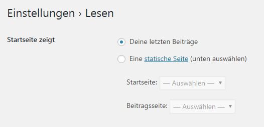 Startseite von WordPress