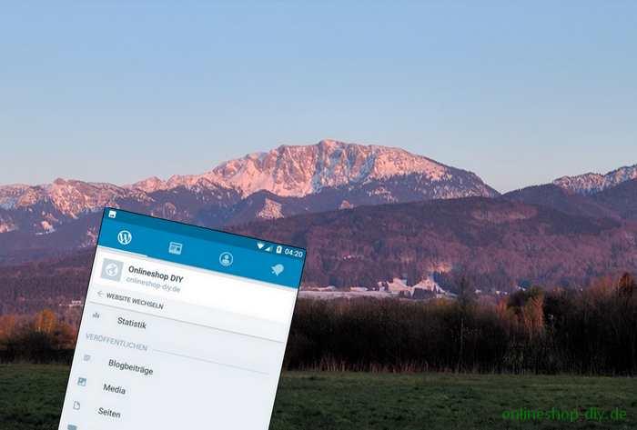 WordPress-App vor Alpenlandschaft