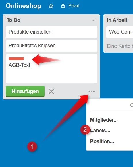 Trello Labels anbringen