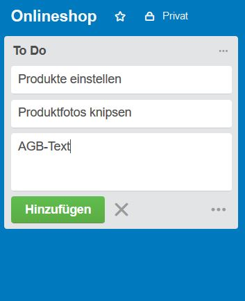 To Do - Liste in Trello