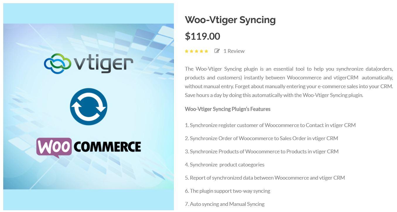 WooCommerce plus vTiger via Woo – vtiger syncing