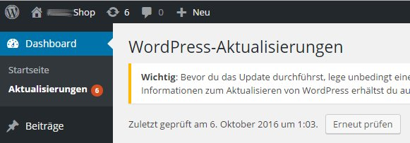 WordPress muss aktualisiert werden