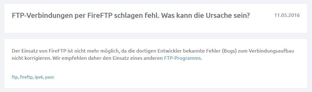 UD Media blockiert FireFTP
