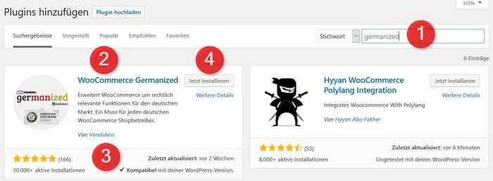 WooCommerce Germanized installieren