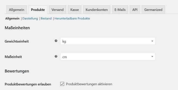 Onlineshop konfigurieren