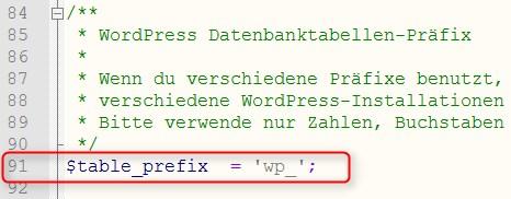 Datenbank-Prefix ändern
