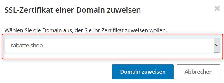Domain wählen