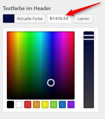 Textfarbe im Header anpassen