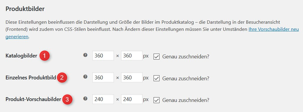 Bildarten in WooCommerce