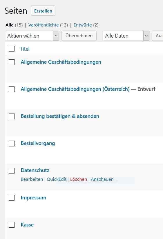WooCommerce German Market Seitenverwaltung