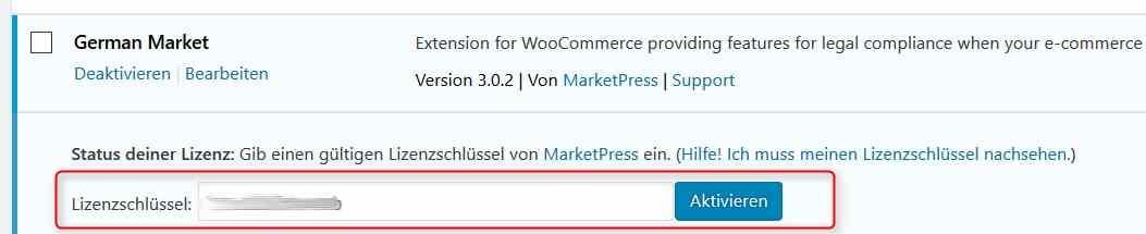 WooCommerce German Market Lizenzschlüssel entragen