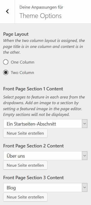 WordPress Abschnitte