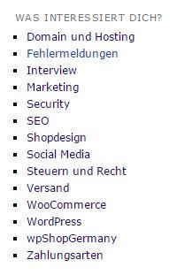 """Das Kategorie-Widget - ohne die Kategorie """"Allgemein"""""""