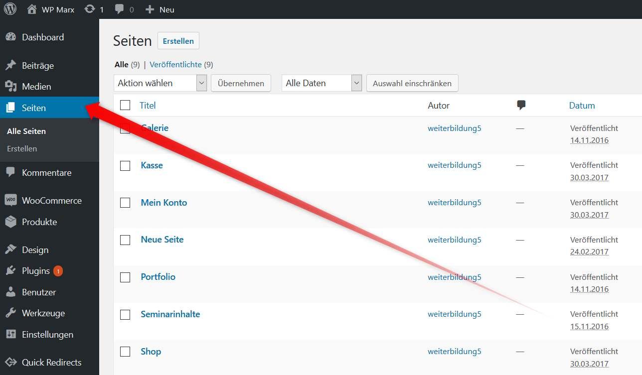 WordPress Seitenverwaltung