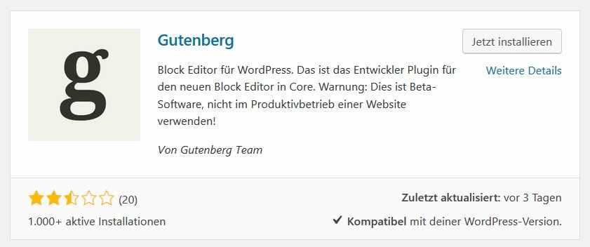 Das Plugin Gutenberg-Editor