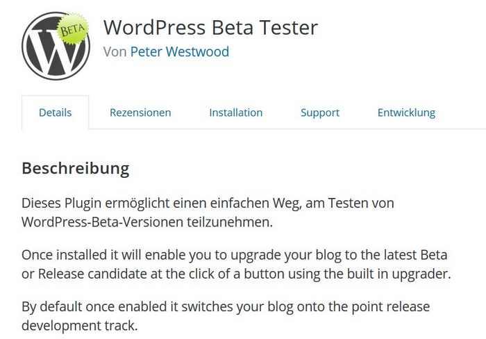 Das Plugin Beta Tester