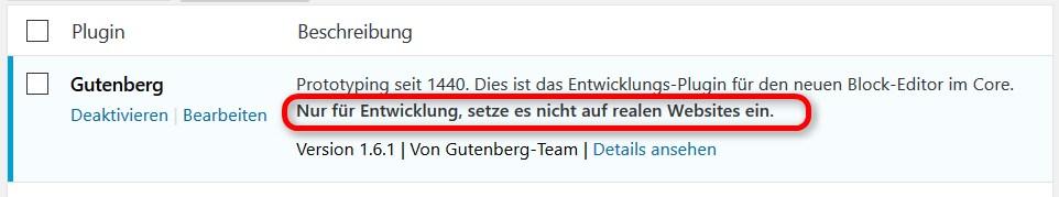 Gutenberg nur zu Testzwecken verwenden