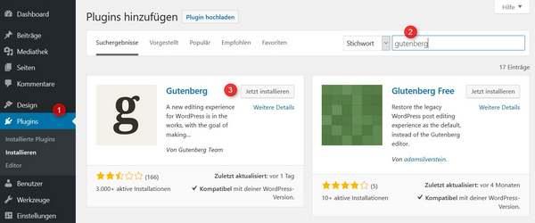 Installationsweg Gutenberg