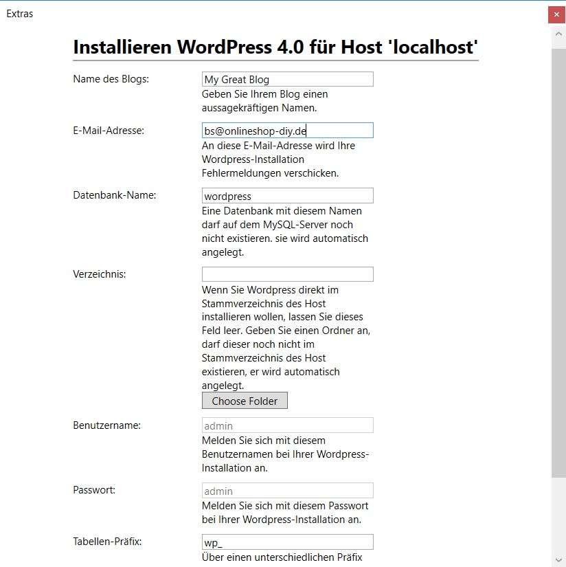 WordPress wird installiert
