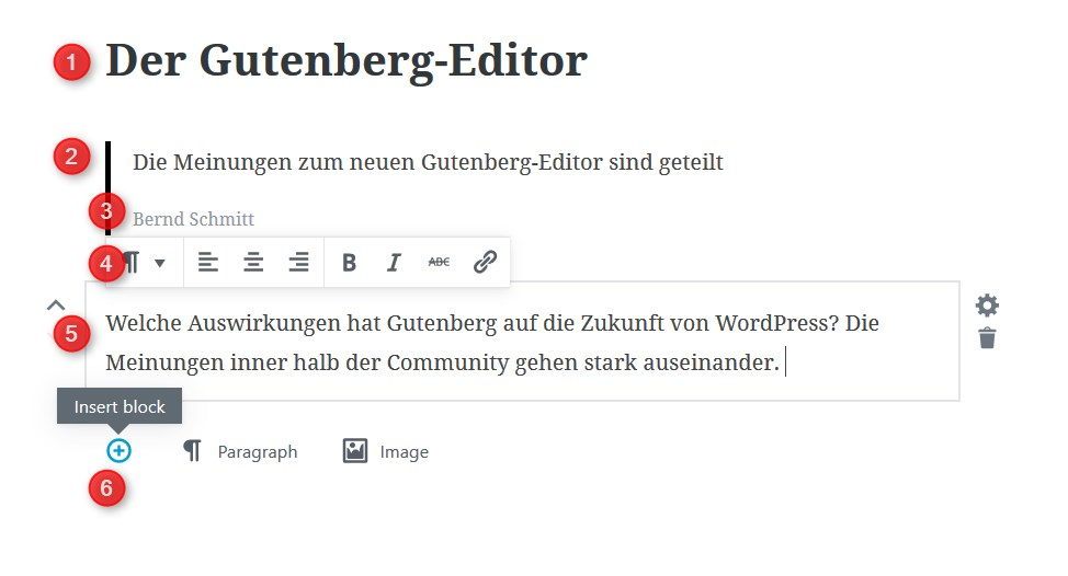 Gutenberg-Editor im Backend