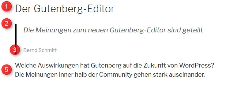 Gutenberg in der Besucheransicht