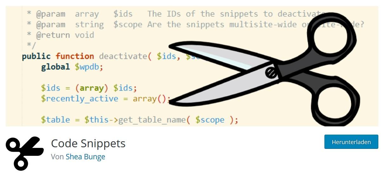 Das Plugin Code Snippets
