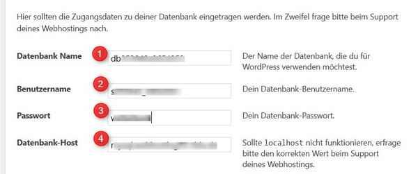 Datenbank-Zzgangsdaten eingeben