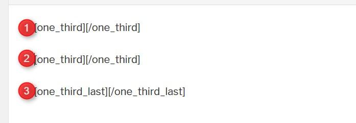 Shortcode für drei Spalten