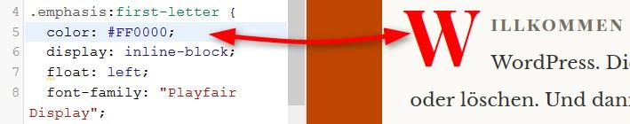Farbe im Customizer ändern