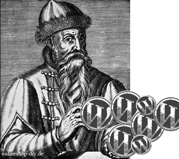 Gutenberg mit Geldstücken