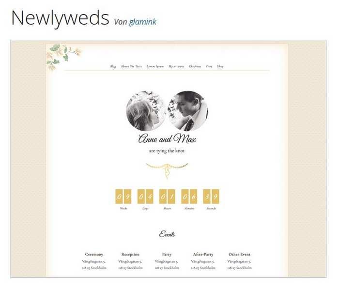 Das kostenlose Hochzeitstheme Newlyweds