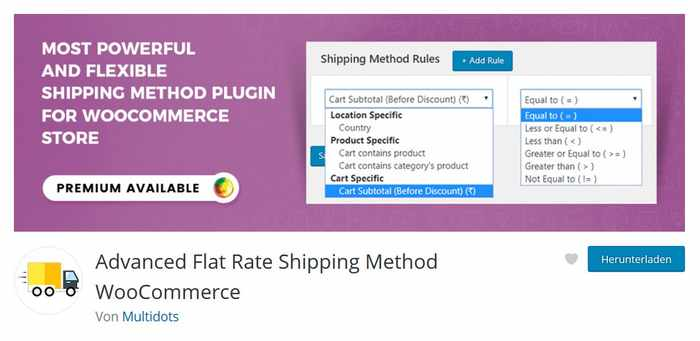 Advanced Flat Rate Shipping
