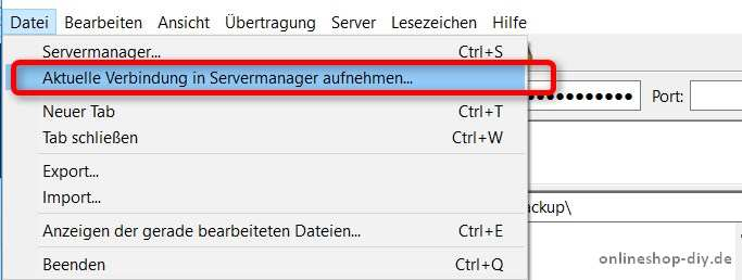 FileZilla Servermanager