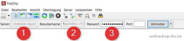 FileZilla Zugangsdaten