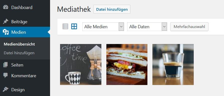 Startseitenbilder in der Mediathek