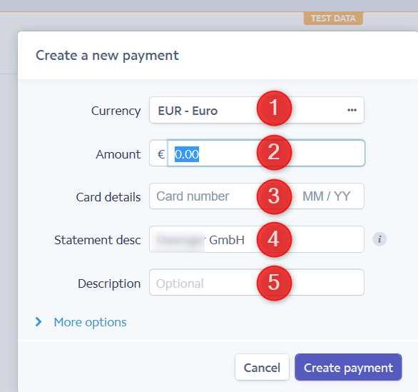 Neues Payment anlegen