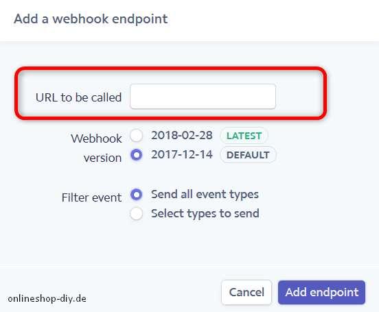 Endpoint-URL eingeben