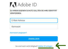 Adobe ID anlegen