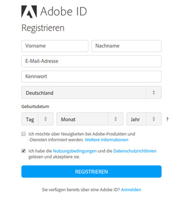 Adobe registrieren