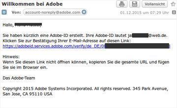 Adobe Verifizierungsmail
