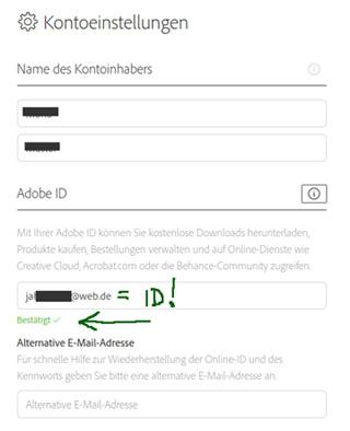 Adobe Mailadresse