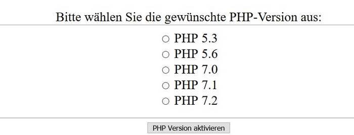 PHP-Version geändert